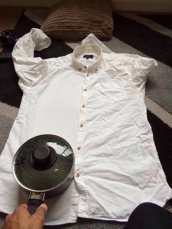 No iron?  Boil a pot of water, and use just like an iron! Your clothes will looked freshly ironed!