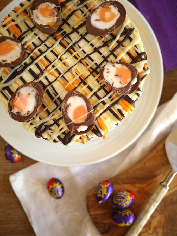 Cut your large Creme Eggs in half and use to decorate the top of the cheesecake.