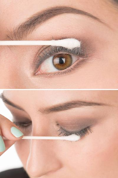 10. Plump Your Lashes Apply two coats of mascara; then dip a cotton swab in baby powder and brush it onto your lashes. Finish with two more coats of mascara and boom—major lashes without the hassle of falsies!