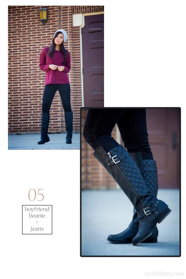 Boyfriend beanie and burgundy jumper with a pair of black studded riding boots  You can look stylish with a few essentials: boots, beanie, jumper, and jeans. This combination makes for the perfect fall outfit every time, just make sure the color coordinate.
