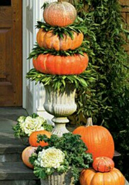 Add some hight with some flatter pumpkins or you can flatten the tops if your not able to find the thinner ones...