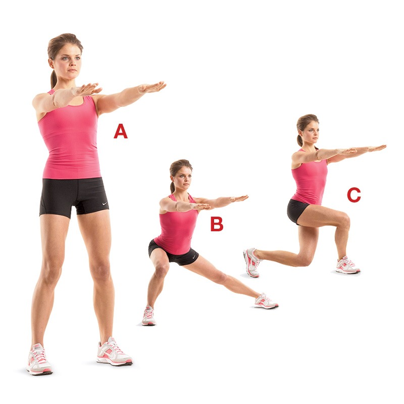 Stretch #3: Lunges. When doing lunges, you are really stretching out your hamstrings, which helps you prepare for your splits. There isn't much to it. You just have to do it.