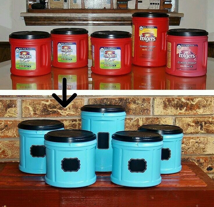 Use old Folgers canisters spray paint them using a plastics spray paint add sticker labels your done!!!