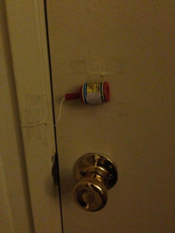Use party poppers to catch kids trying to sneak out of the house.