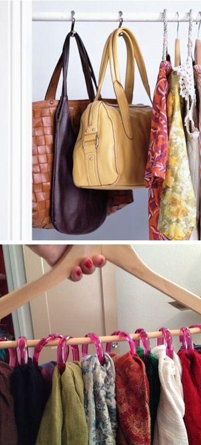 Use those handy shower hooks to hang purses, scarves, hats, ties, belts, or anything else your closet demands!