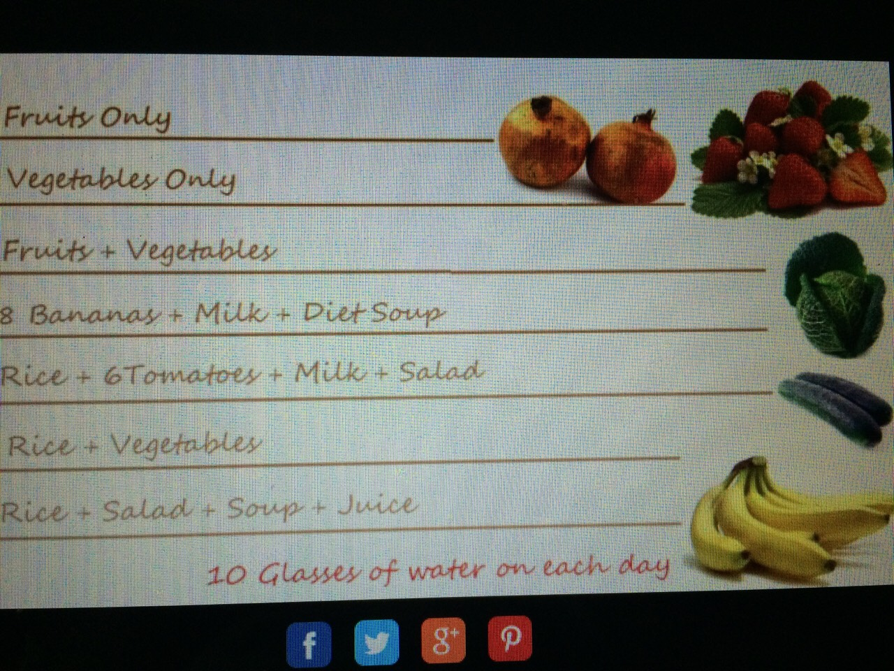 7 day cleanse  First day - fruit only Second day - vegetables only