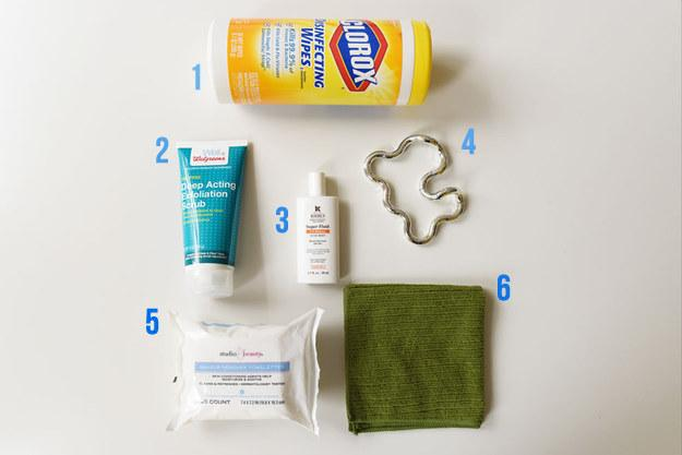 Here's what you'll need: 1. Disinfecting wipes 2. Gentle face exfoliator 3. Sunscreen 4. Tangle Therapy (optional) 5. Makeup remover wipes 6. Washcloth
