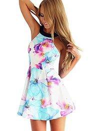 Flymall Flora Print Halter Neck Fit and Flare Dress Mini Dress