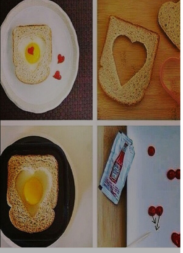 Easy and cute, make an egg then toast a bread with a heart cookie cutter make a heart on the bread put the bread on top of the egg with yolk.in the middle then with the ketchup make lil hearts make two dots and with a toothpick make the tip enjoy