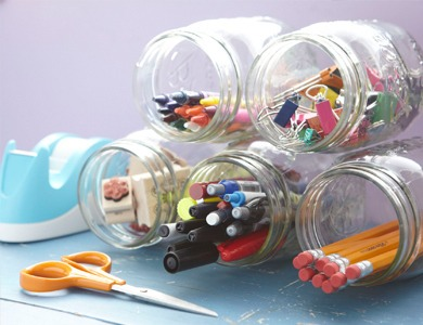 Glue jars together to create office supply holder