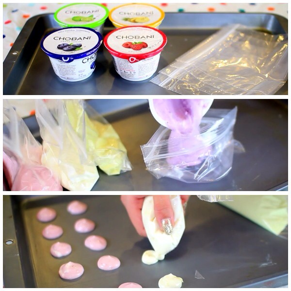 All the thing you will need -different favor yogurt  -different sandwich bags for each favor  -a flat pan  So follow the picture and leave it in the freezer for an hour or  intill hardens