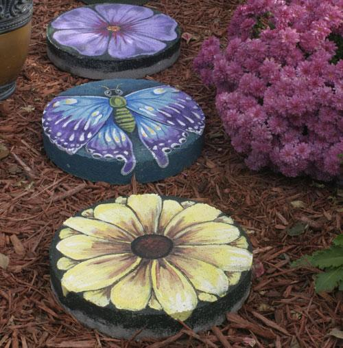 Hand-painted stepping stones