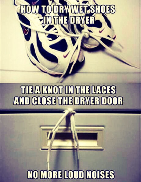 Tie a knot in your shoe laces and close the dryer door on it. It prevents your shoes from banging around in the dryer but still drying.
