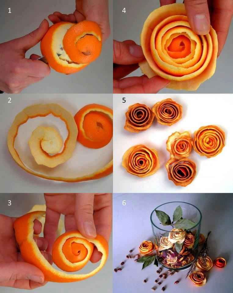Peel the orange into thin widths in a circular motion as shown above. Leave for 5-6 hours in sun or overnight if possible and add dried leaves ...make a unique and cheap presentation ...plz like