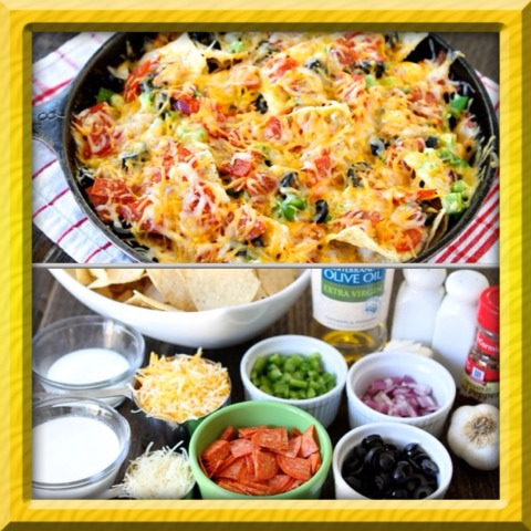To make the Pizza Nachos, you will need: butter, olive oil, garlic, heavy cream, milk, salt, pepper, red pepper flakes, Parmesan cheese, tortilla chips, onion, pepperoni, black olives, green pepper, and Colby Jack cheese.
