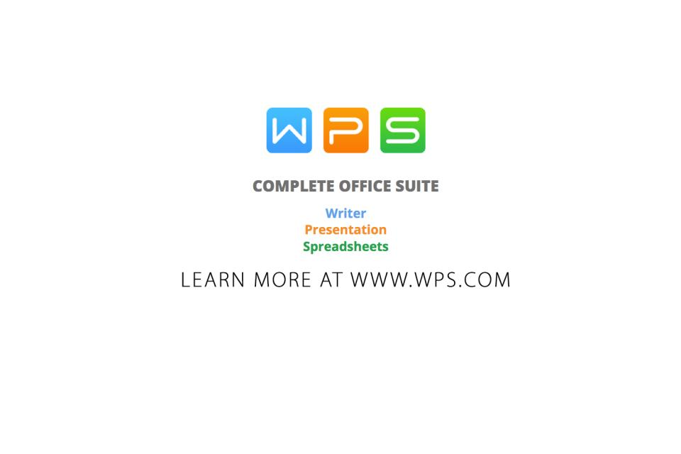Download WPS App for FREE on Google Play or the App Store. To get a FREE download of WPS for Windows or Linux visit http://bit.ly/1PtSY0i
