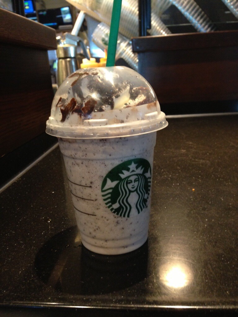 oreo frappuccino:  Double Chocolate Chip Frappuccino Blended with white mocha sauce instead of regular mocha Top with your choice of chocolate or regular whipped cream