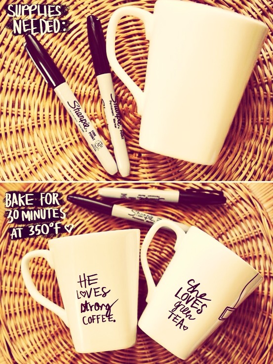 Make a sharpie mug for him or her!💕 so cheap and so easy!