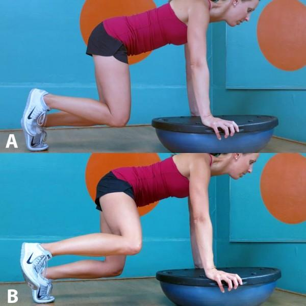 This version of the fire hydrant is an excellent way to increase endurance of your deep abdominal muscles, and the instability from the BOSU turns on your obliques and makes your core work double time. Recommended: Sets: 3 Reps: 10 to 15