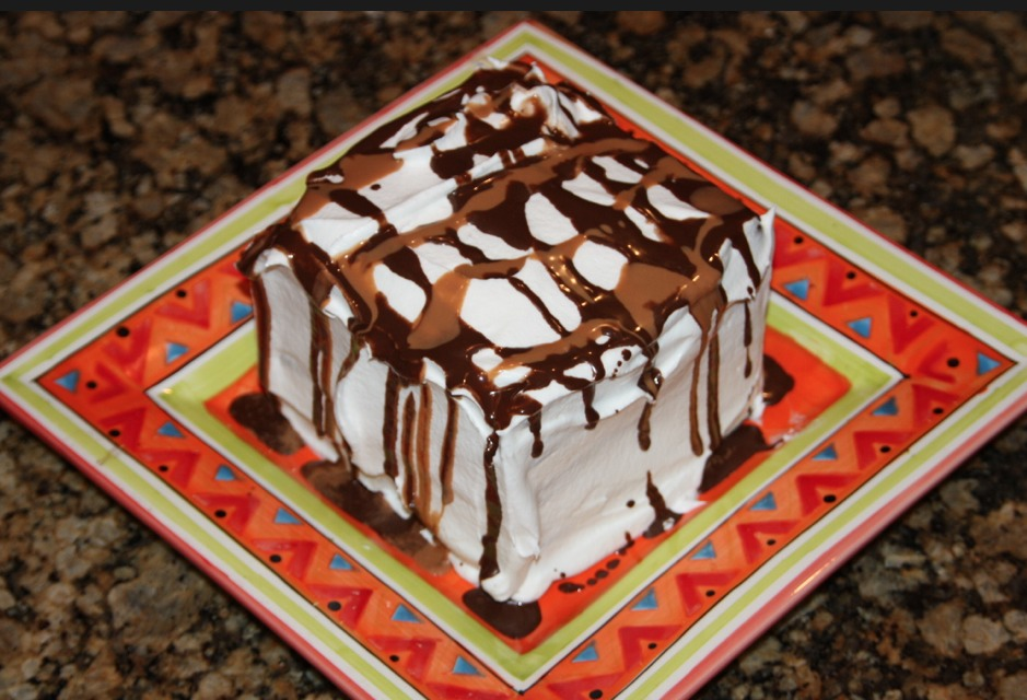 Top it with Caramel and chocolate sauce and put it in the freezer for min 20 min