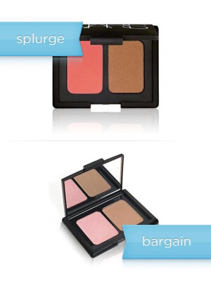 The splurge: Nars Blush/Bronzer Duo in Orgasm/Laguna, $38  The bargain: E.L.F. Studio Contouring Blush and Bronzing Powder, $3  Money saved: $35