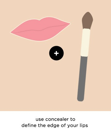 Finishing Touch for Fuller Lips  Use a concealer around the edge of your lips.You can do this either as a finishing touch toClean up your lip color,making it look more graphic and precise,or at the beginning,before going in with your pencil.That way,you can define the lips without using a heavy line