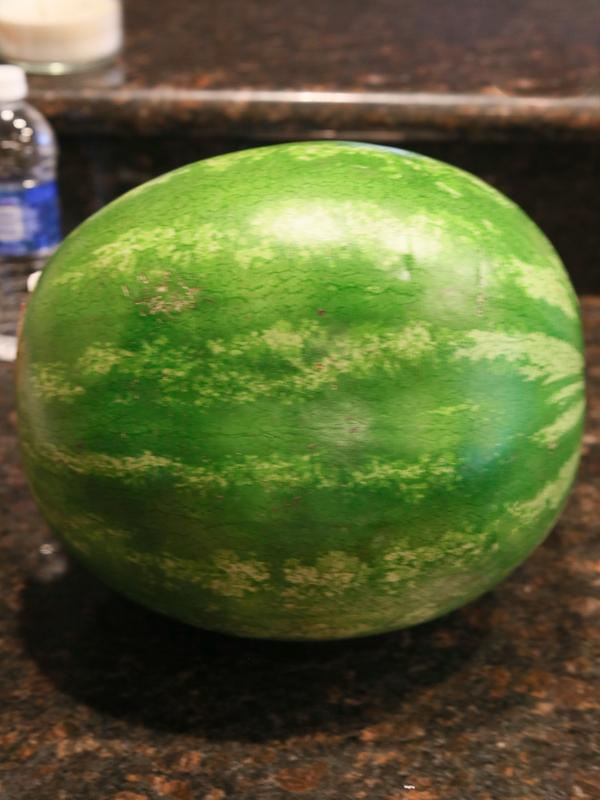 Start off with your watermelon and a sharp knife.