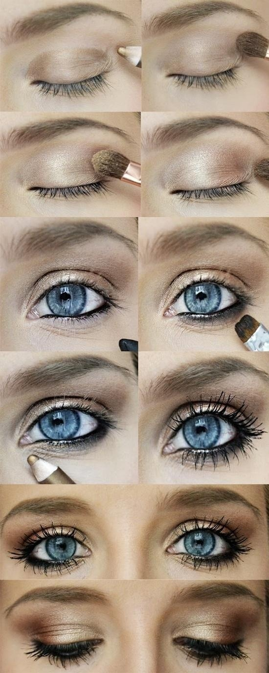 Natural and understated gold/bronze eye makeup, flattering on everyone