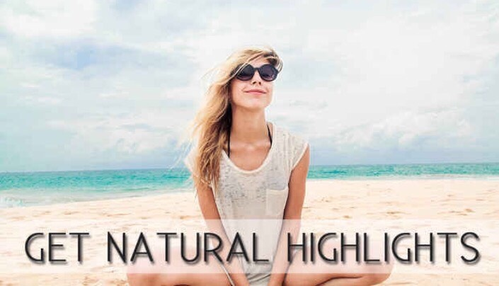 Get gorgeous natural highlights by applying a mixture of coconut oil, lemon juice, water, and salt before going to the beach or to a pool. Just sit in the sun and wait for your natural highlights!