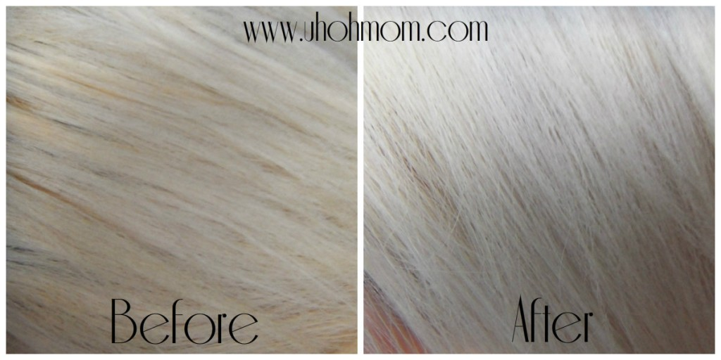 wash your hair using shimmer lights 2 times a week and trust me you will see the difference on your ugly yellow orangy brassy highlights you'll go from mello yellow to pretty pretty platinum blonde .you can even use this for silver hair just be carful not to use too much it will turn purple