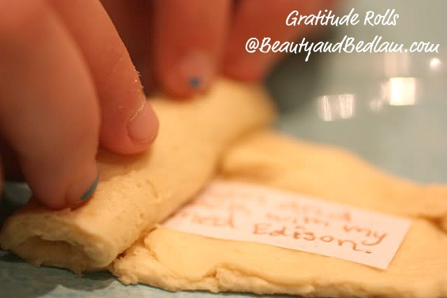 Make little sayings, wishes, and blessings, to include in the crescent rolls. Type them all onto one piece of paper, and then section the blessing inside the crescent rolls and bake normally great idea for thanksgiving feasts!!