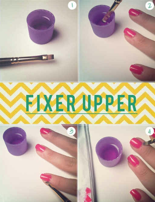 25. No one can really paint their nails without mistakes, so this acetone and paint brush trick really works. Grab an angled eyeshadow brush (make sure it's one you no longer use on your eyes) and dip it in nail polish remover. Gently use that to get rid of any extra polish on your cuticles.