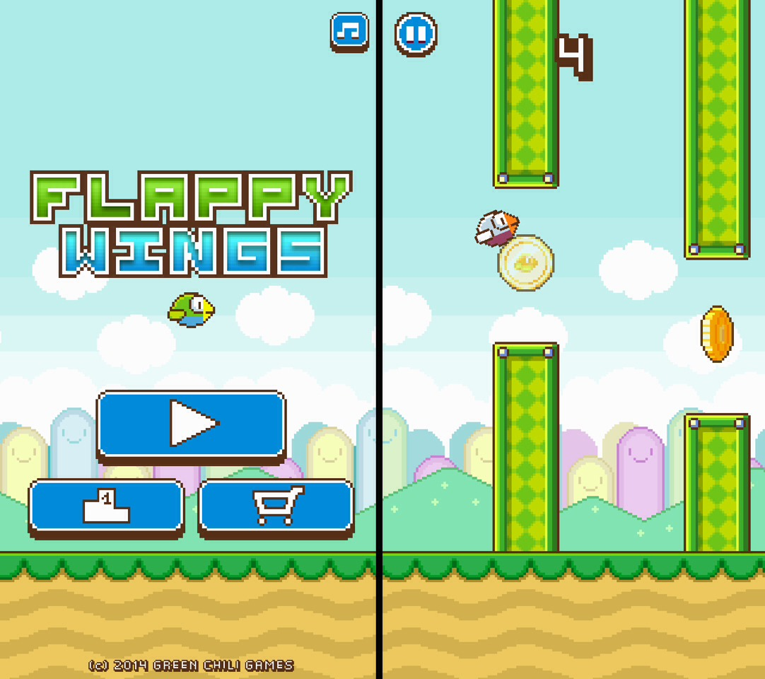 Flappy wings is another game similar to flappy bird but like splashy fish it is quit slow but you also get coin every time you go through a pipe.
