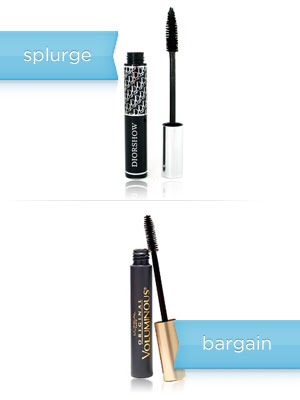 The splurge: Dior Diorshow Mascara, $21.85  The bargain: L'Oreal Paris Voluminous Mascara, $8.99  Money saved: $12.86