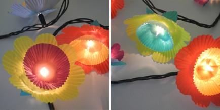 Use cupcakes Liners on lights to decorate a party table.