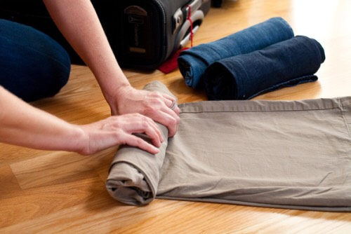 7. Roll Clothes: If you want to have more space in your gym bag try rolling your clothes. By rolling your allowing more space in your bag for other important things.