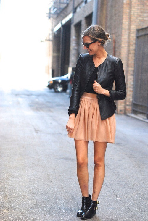 Pair a girly/feminine skirt with leather pieces to toughen up the look.