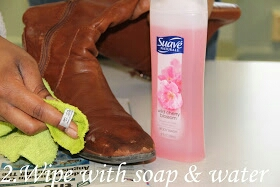 Then take your favorite gentle body soap, water, and a towel and gently clean off your leather boots.