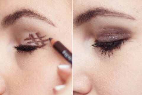 16.Get the perfect smokeyeye by drawing a hashtag - # -on the outer corner of your eyelid and smudging it out with the sponge.  Keep drawing hashtags and smudging it out to get a darker, smokier look.