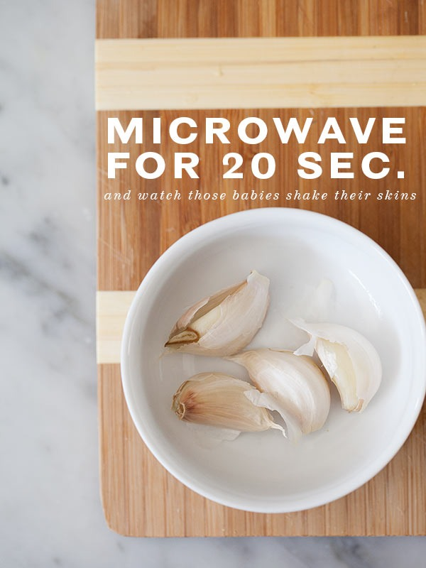 Simply place the garlic cloves in the microwave for 20 secs...the skin will slip off easily...