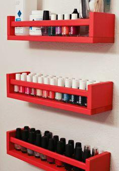 Use IKEA spice racks for nail polish and other beauty items to get them out of the way.  Saves space!  Please like and share!