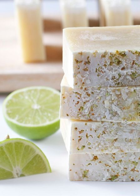 Coconut lime soap   http://offbeatandinspired.com/2013/04/03/coconut-lime-soap/