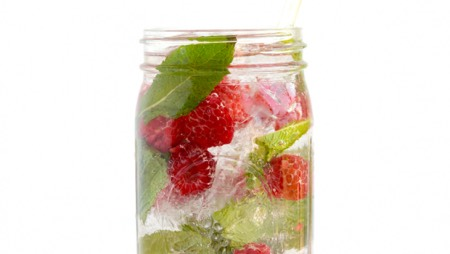 """The Everything"" Infused Water 2 cups of water or sparkling water 2 cups of ice Mix together each of the above ingredients for a super-fruity infused water  *Combine all in a large mason jar or jug and drink immediately or let sit in fridge for 1-4 hours to soak in additional flavor."