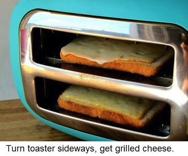 Instead of taking the toastie maker out, turn your toaster sidewards and place your bread with cheese in it, this is an easy way to make grilled cheese🍞
