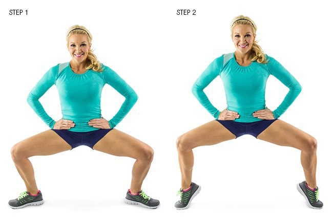 6.Tip Toe Squat:On this final move of the series,stay focused on the lower body.This will help toContinue sculpting the large leg muscles.Besure yourbelly button is pulled in and tight,engaging the core to enhance waist-cinching core strength.Do this move forOne minute with as manyReps as possible
