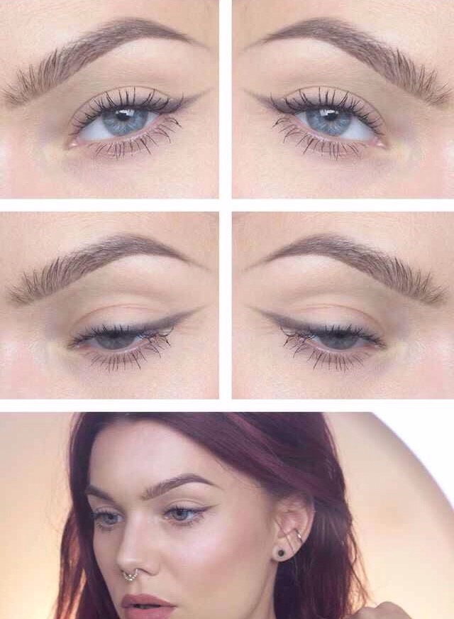 You can use a light eyeshadow on an angled brush to make the perfect subtle winged liner