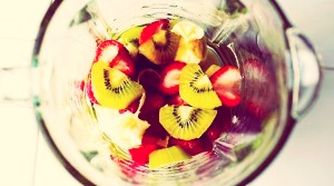 to make your water taste more tasty rather than so plain all you need is fruit!!  In a blender pick either 1 fruit or you could mix more than 1...but blend the fruit in the blender until there is no solid left. Pour the blended fruit into an ice cube tray!
