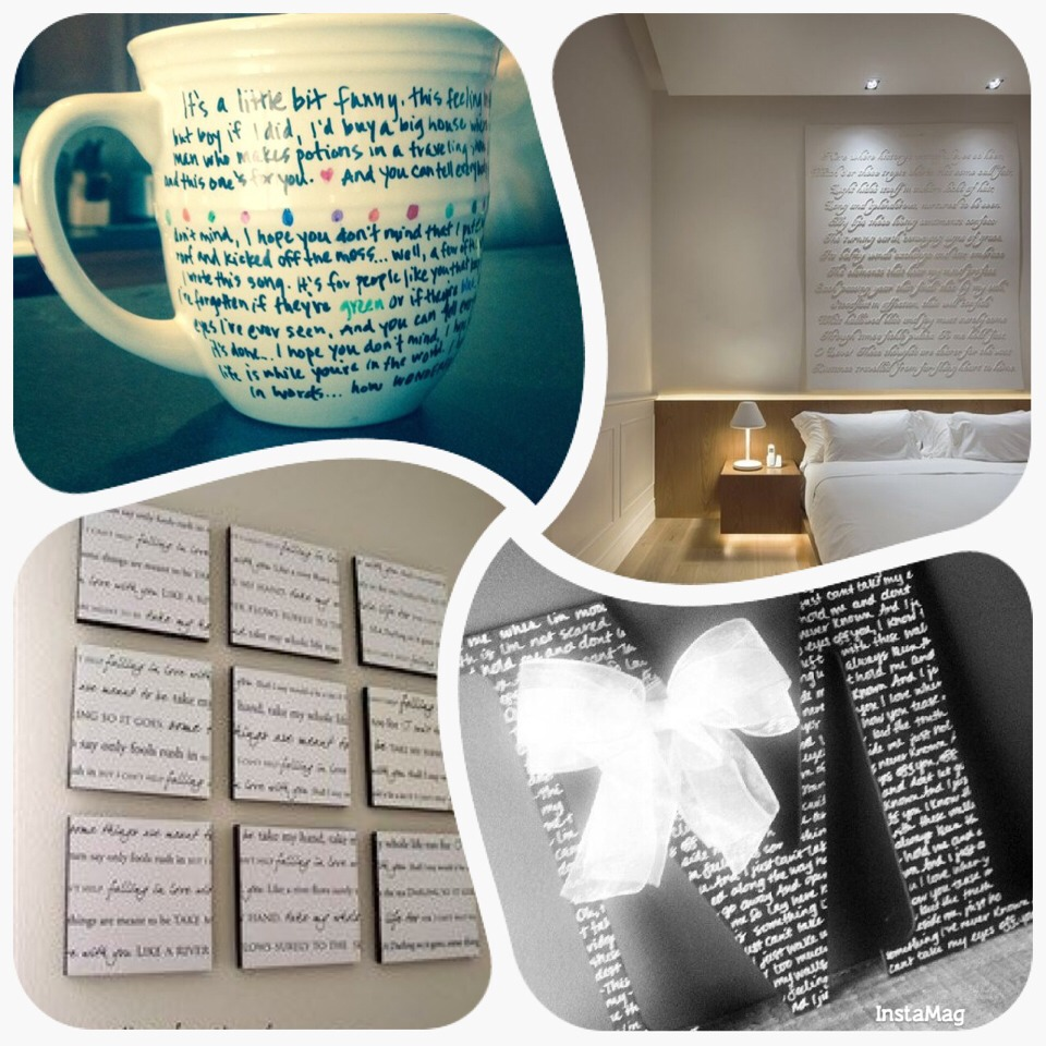 -> Write down first dance lyrics on a cup for your husband as a gift  -> Above the bed lovely first song lyrics  -> Home Decor Canvas -> Personalized Initial with first dance lyrics