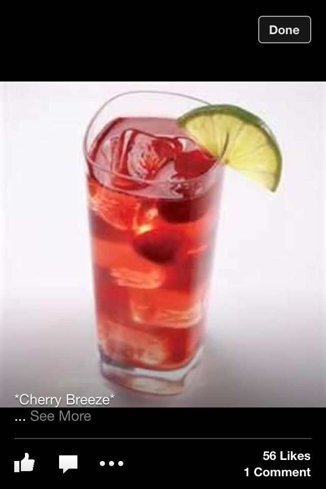 1 1/2oz Cherry vodka,  1 1/2oz cranberry juice,  1 1/2oz pineapple juice, an 1 lime for garnish :) IF You Save Please LIKE !!