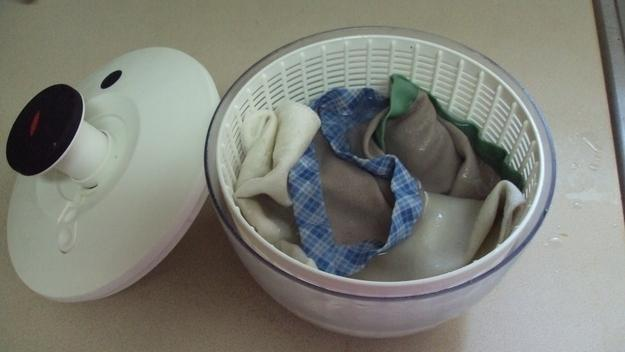 13. Dry delicate tops in a salad spinner.